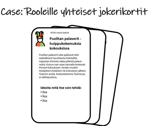 Case Rooleille yhteiset käytänteet jokerikortteina